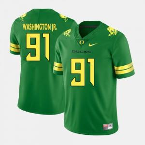 Green #91 College Football Men's Tony Washington Jr. Oregon Jersey 220026-991