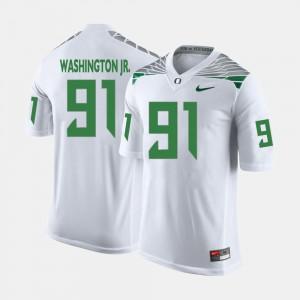 Mens College Football #91 Tony Washington Jr. Oregon Jersey White 981511-754