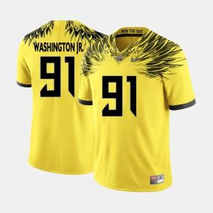 Tony Washington Jr. Oregon Jersey Yellow College Football #91 Men's 510577-563