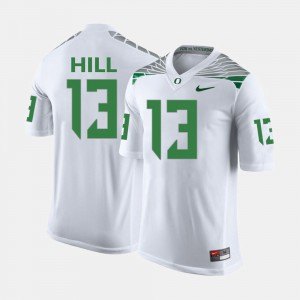 College Football Mens TroyHill Oregon Jersey #13 White 205472-551