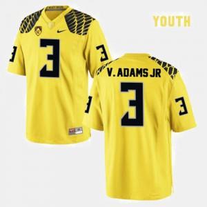 Kids Yellow Vernon Adams Oregon Jersey #3 College Football 742904-418