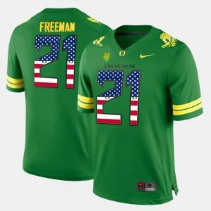Royce Freeman Oregon Jersey Men's US Flag Fashion #21 Green 143753-732