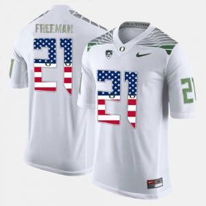 For Men White Royce Freeman Oregon Jersey #21 US Flag Fashion 405980-853