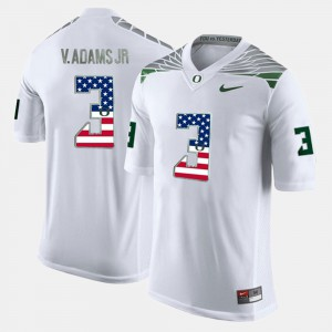 #3 White Vernon Adams Jr Oregon Jersey For Men US Flag Fashion 512952-415