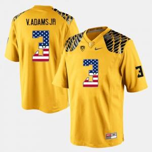 Men Vernon Adams Jr Oregon Jersey Yellow US Flag Fashion #3 519137-710