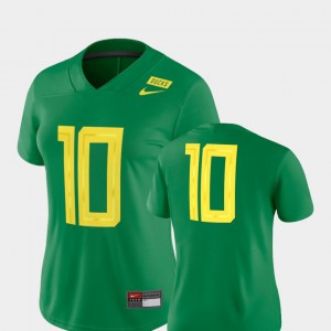 Football Game #10 Oregon Jersey For Women 2018 Mighty Oregon Green 975251-469