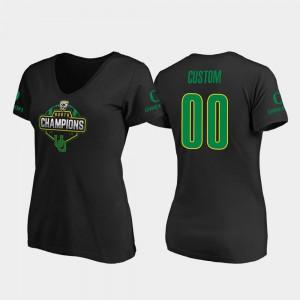 For Women Oregon Custom T-Shirt V-Neck 2019 PAC-12 North Football Division Champions Black #00 670248-443