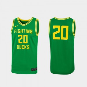#20 Green Replica For Women's College Basketball Oregon Jersey 658947-813