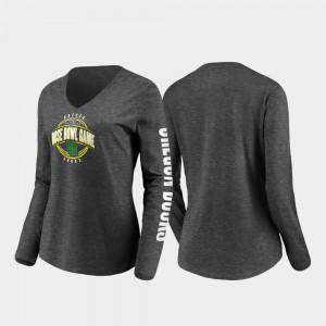 Heather Charcoal Stiff Arm Long Sleeve V-Neck 2020 Rose Bowl Bound For Women's Oregon T-Shirt 119787-531