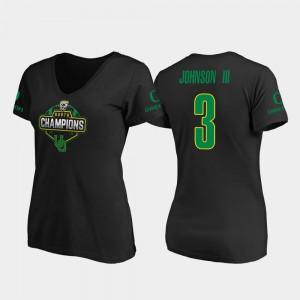 Johnny Johnson III Oregon T-Shirt Black #3 2019 PAC-12 North Football Division Champions V-Neck Women's 178157-791