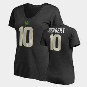 Name & Number V-Neck Womens College Legends Justin Herbert Oregon T-Shirt #10 Black 365995-832