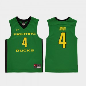 Ehab Amin Oregon Jersey Youth Green #4 College Basketball Replica 765230-596