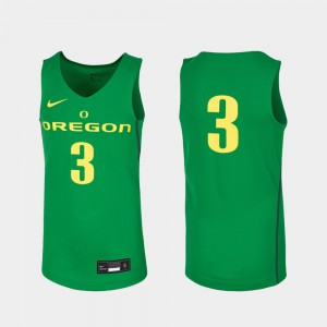 Replica College Basketball Youth(Kids) Kelly Green #3 Oregon Jersey 878701-727