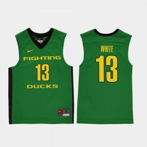 Replica #13 College Basketball Paul White Oregon Jersey Green Youth(Kids) 522753-486