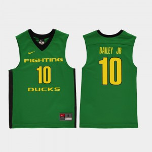 Youth(Kids) Green Victor Bailey Jr. Oregon Jersey #10 College Basketball Replica 164823-542