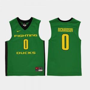 Kids Replica College Basketball Green Will Richardson Oregon Jersey #0 677940-986